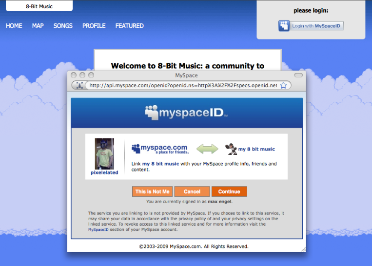 MySpaceID OpenID Sign in pop-up